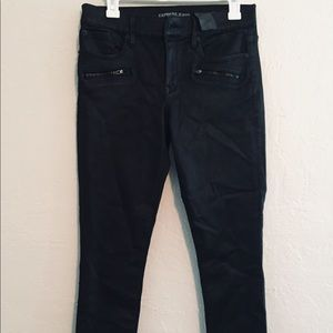 Express mid rise black jeans with zipper pockets